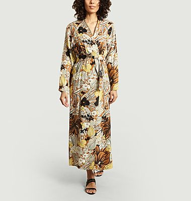 Cats floral print wrap dress