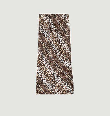 Jupe longue imprimé léopard en soie Fame Gabriella