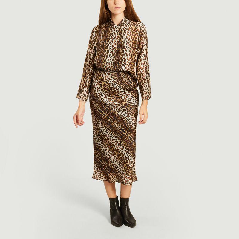 Jupe longue imprimé léopard en soie Fame Gabriella - Roseanna