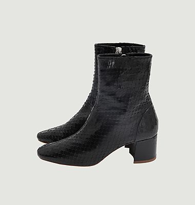 Puppy python-effect ankle boots