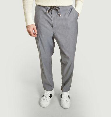Pantalon en laine avec taille élastiquée