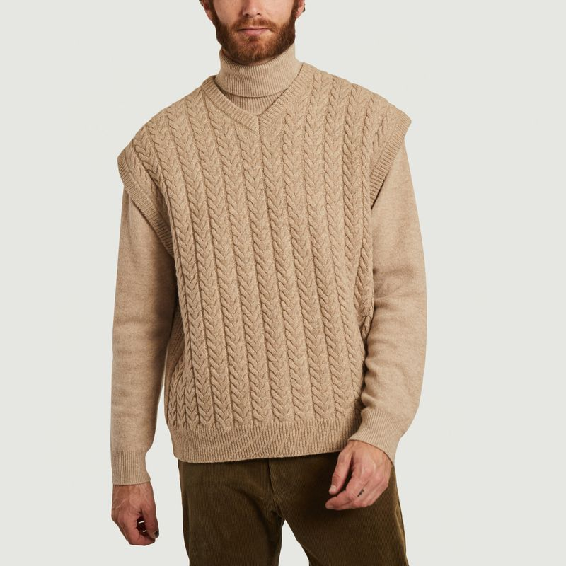 Pull sans manche à torsades en laine Wyatt - Samsoe Samsoe