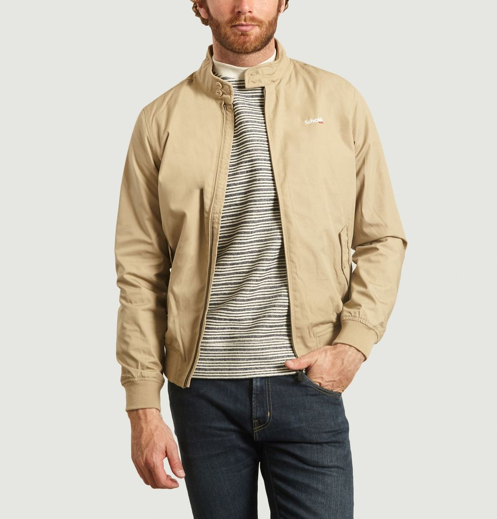 Schott NYC Pull Col 12 Zippe Cotes Homme: