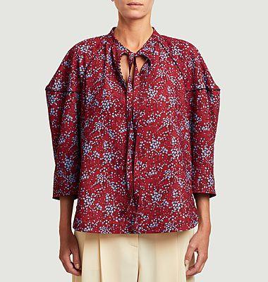 Flower print tie collar blouse