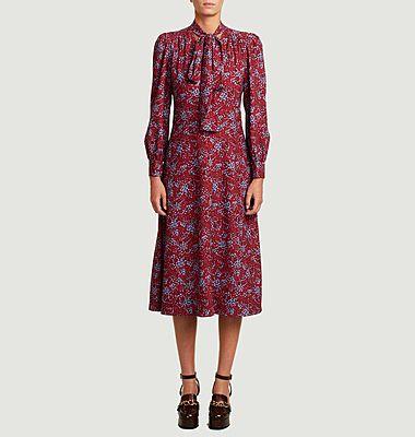 Long sleeves flower print mid-length dress