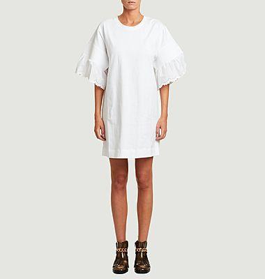 Embroidered short sleeves short dress