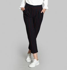 Pinstripe Straight Pants