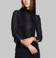 Embroidered Jacquard Blouse