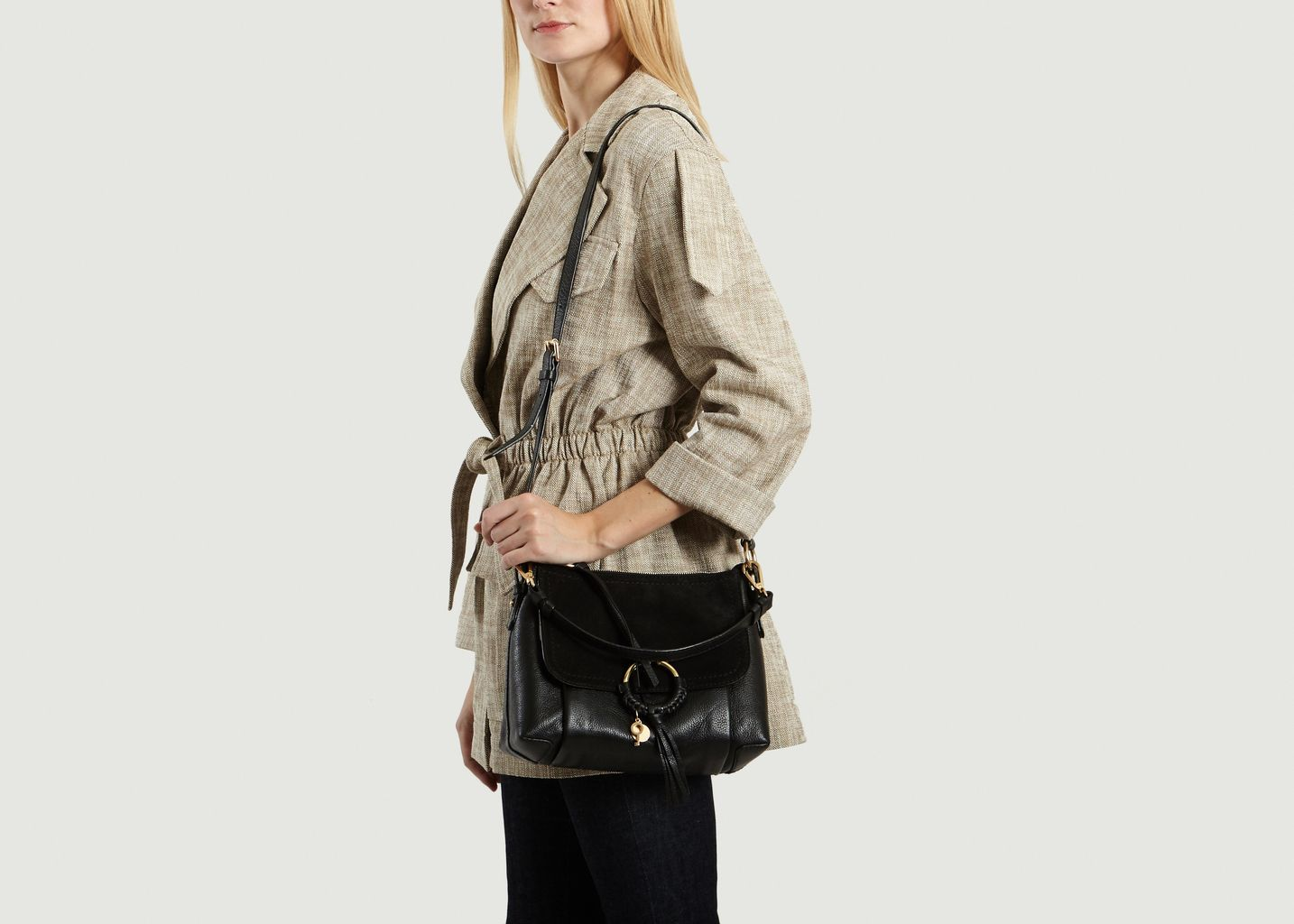 b9ea858217fd1 Sac Joan Small Hobo Noir See by Chloé