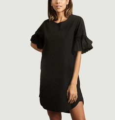 Cotton Dress With Ruffled Sleeves