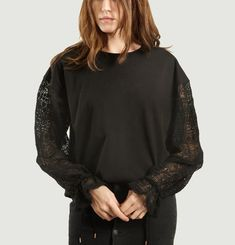 Laced Long Sleeves Loose Top