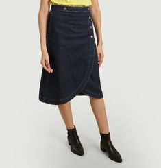 Midi Butonned Denim Skirt