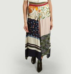 Multi-Printed Long Skirt Scarf Effect