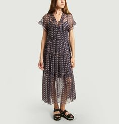 Flounced Silk Dress With Fancy Pattern