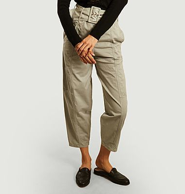Belted loose trousers