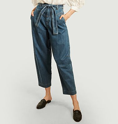Pantalon ceinturé denim