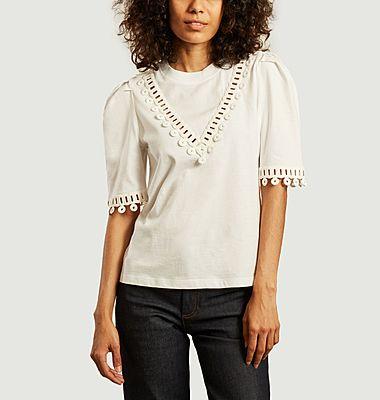 T-shirt en coton avec guipure