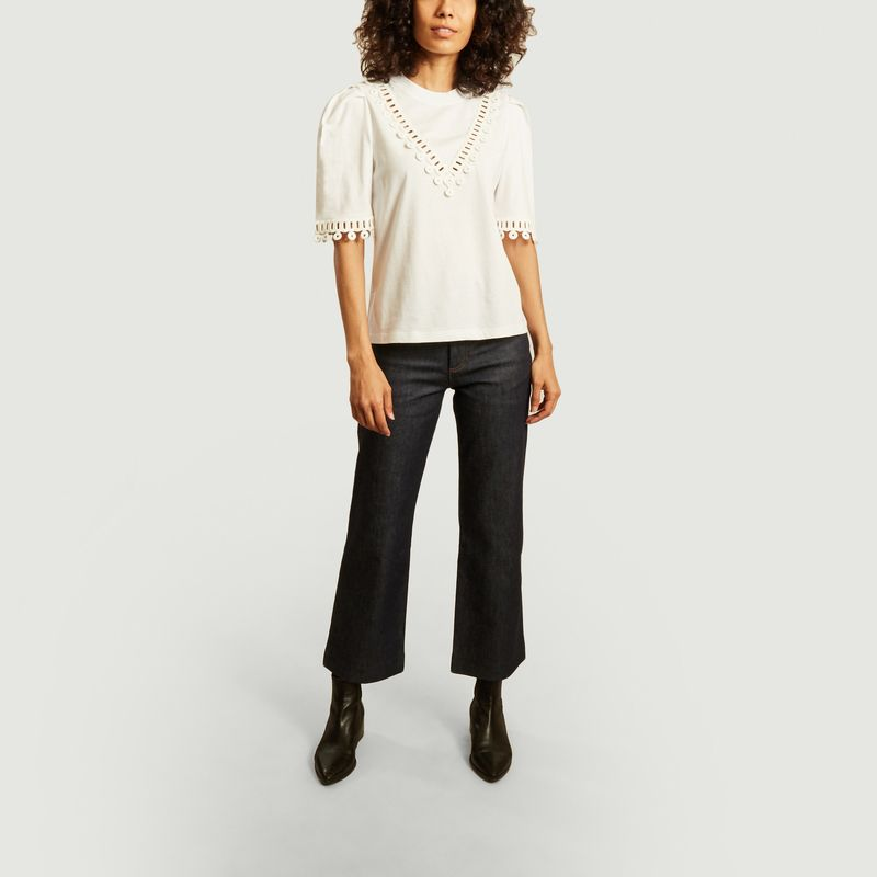 T-shirt en coton avec guipure - See by Chloé