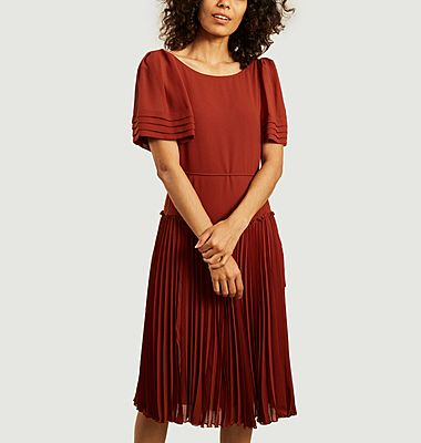 Pleated belted midi dress