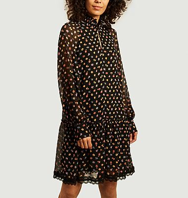 Flower print long sleeves dress