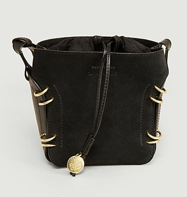 Alvy bi-material leather bucket bag