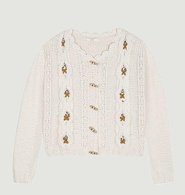 Tesoro embroidered cotton short cardigan