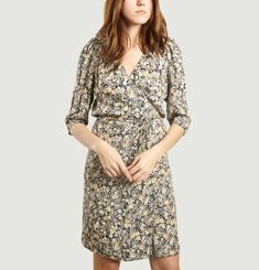 Angela D Floral Print Wrap Dress