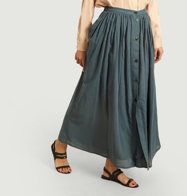 Antigua cotton buttonned long skirt