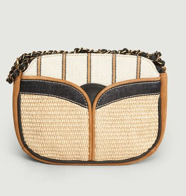 Divine suede leather and textile bag
