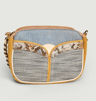 Divine Stripes suede leather and textile bag