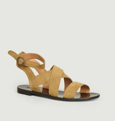 Sandales plates en cuir suédé Giudi