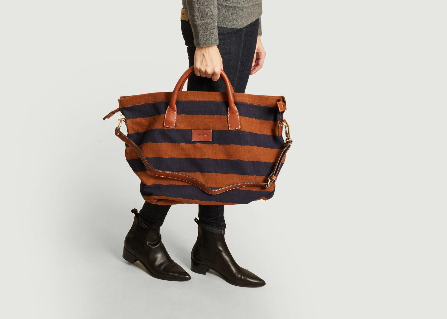 Grand sac cabas rayé en toile Gemino - Sessun