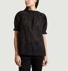 Blouse Manches Courtes En Broderie Anglaise Fina