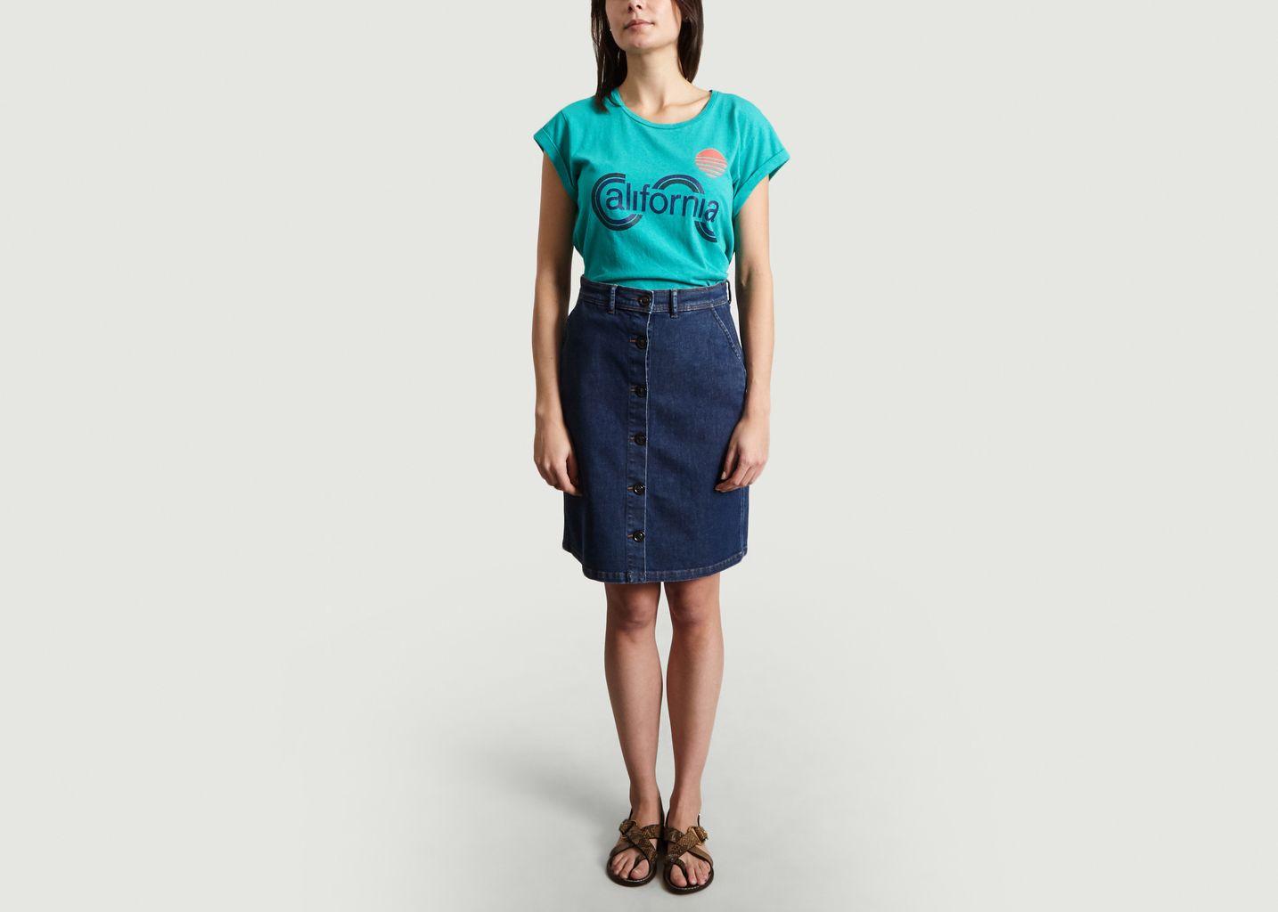 T-Shirt En Coton Et Lin Print California Valentin - Soeur