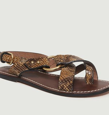 Sandales En Cuir Motif Python Florence