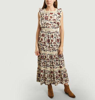 Robe Longue Bella Brodée à Imprimé Fleuri