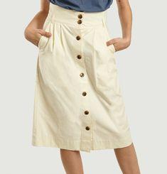 Ischia High Waist Japanese Flamed Cotton Skirt