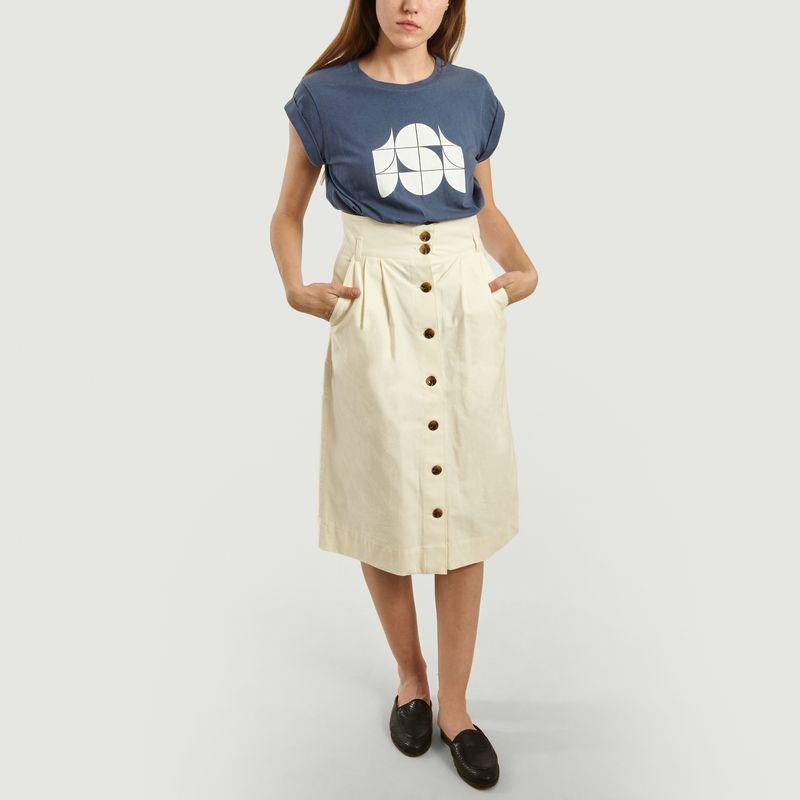 Jupe Ischia Taille Haute Coton Japonais Flammé - Soeur