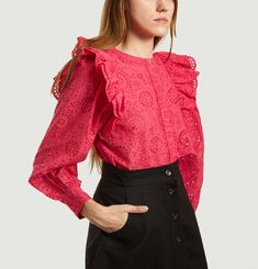 Inesa Blouse English Embroidery and Ruffles