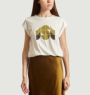 Valentin cotton and linen printed t-shirt
