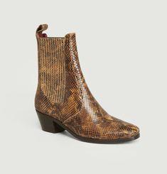 Boots en cuir façon python Gazette