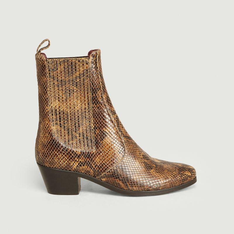 Boots en cuir façon python Gazette - Soeur