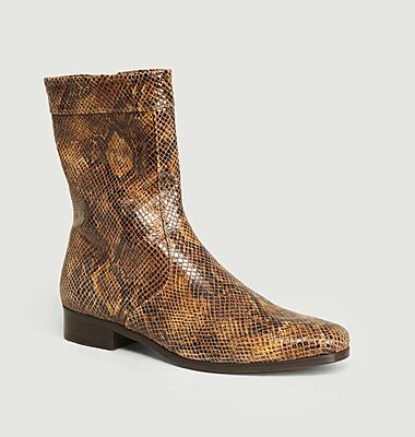 Ecaille python effect leather boots