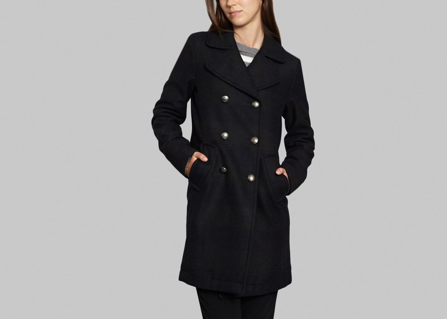 Striped Pea Coat - Sonia By