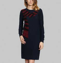 Intarsia Scarf Dress