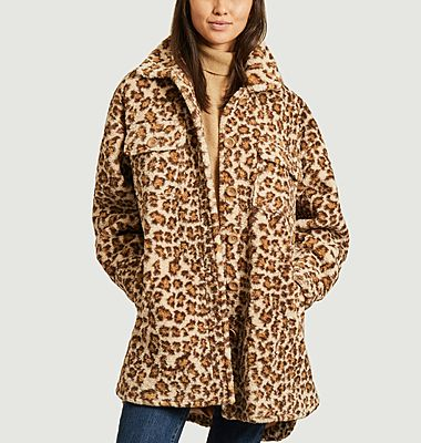 Manteau effet fourrure motif léopard Sabi