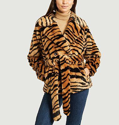 Tiffany faux-fur tiger patern short coat
