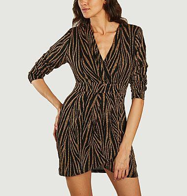Candy Zebramuster Kleid mit langen Ärmeln