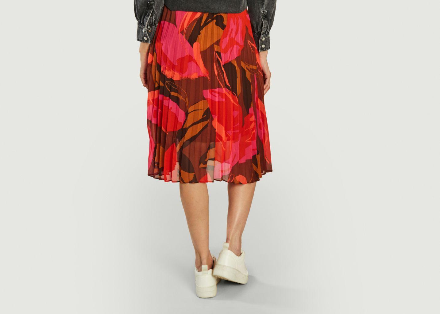 Jupe mi-longue plissée motif fleuri Fabiola - Suncoo