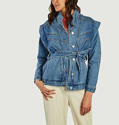 Duna Jeansjacke mit Gürtel und Schulterpolstern